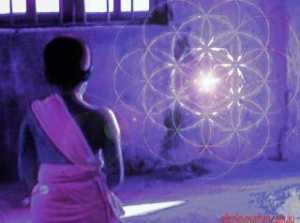 child meditating wtih flower of life